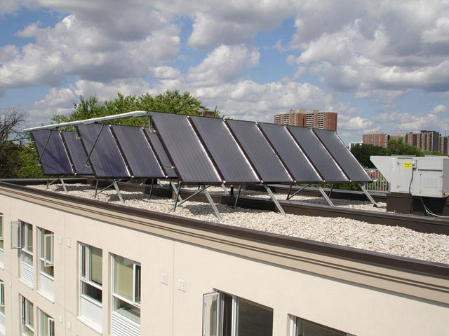 Neighbour Link Homes has installed solar collector panels on the roof of three of their buildings. The energy generated by these panels assists in water-heating, resulting in lower natural gas offsets and a smaller carbon footprint in the neighbourhood.