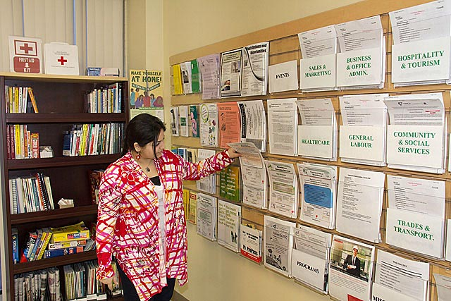 A job search library provides clients seeking employment access to computers, Internet, newspapers, photocopying, scanning, faxing, job postings, books and resources.